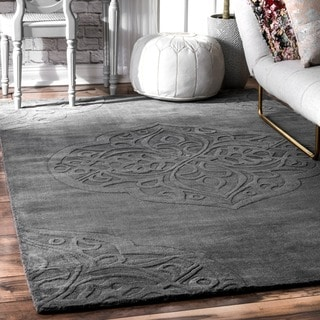 nuLOOM Handmade Carved Talisman Wool Grey Rug (8'6 x 11'6)