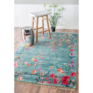 nuLOOM Hand-Knotted Chinese Art Deco Floral Vines Silk/ Cotton Blue Rug (5' x 8')