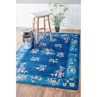 nuLOOM Hand-Knotted Chinese Art Deco Floral Blossoms Silk/ Cotton Blue Rug (5' x 8')