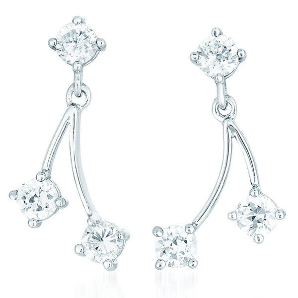 Collette Z Sterling Silver Clear Cubic Zirconia Dangling Strands Earring