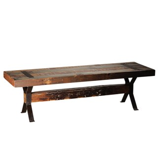 Mongolia Reclaimed Mango Wood and Iron Bench