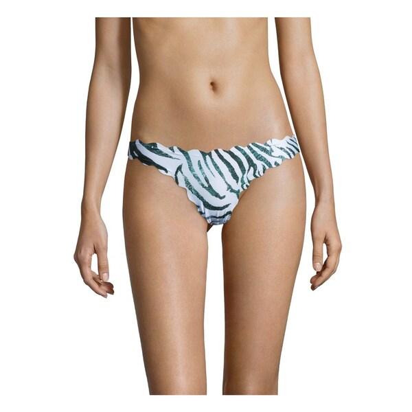 PilyQ Dreamy Blue Seamless Reversible Wave Scalloped Full Cut Bikini Bottom