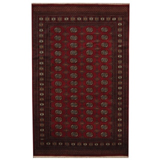Herat Oriental Pakistani Hand-knotted Prince Bokhara Red/ Gold Wool Rug (6' x 9'6)