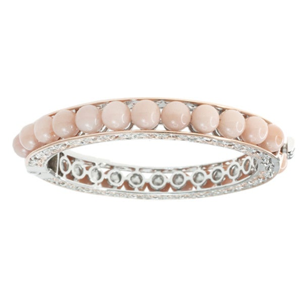 Michael Valitutti Peach Moonstone Hinged Bangle Bracelet