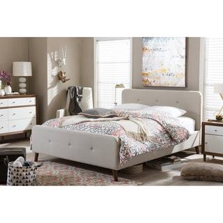 Baxton Studio Laurio Mid-century Retro Modern Light Beige Fabric Full or Queen Size Upholstered Platform Bed