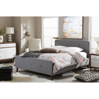 Baxton Studio Laurio Mid-century Retro Modern Grey Fabric Full or Queen Size Upholstered Platform Bed