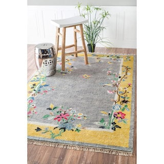 nuLOOM Hand-Knotted Chinese Art Deco Floral Sprouts Silk/ Cotton Grey Rug (7'6 x 9'6)