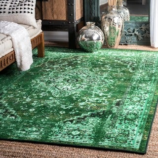 nuLOOM Traditional Vintage Inspired Overdyed Fancy Green Rug (4'1 x 6')