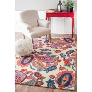 nuLOOM Contemporary Handmade Wool/ Viscose Vibrant Paisley Beige Rug (7'6 x 9'6)