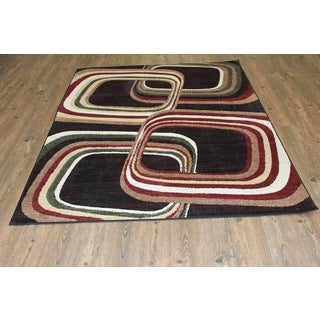 Multi Color Area Rug (Green Burgundy Black Beige Brown )