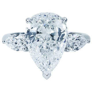 18K White Gold 5 7/8 TDW GIA Certified Pear Diamond Ring (F, VS2)