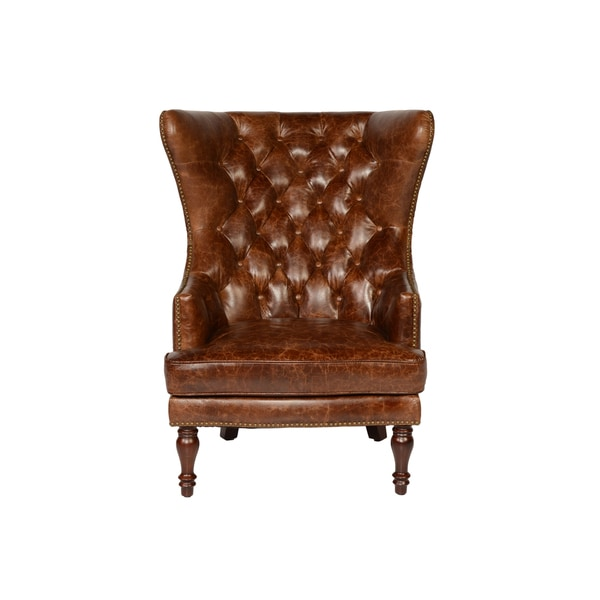 Lazzaro Leather Sedgefield Wing Back Tufted Back Coco Brompton Chair