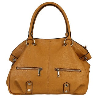 Rimen and Co. Fashion Two Front Zipper Pocket PU Leather Satchel