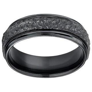 Men's 7mm Hammered Finish Black Titanium Ring