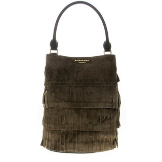Burberry Tiered Suede Fringe Bucket Bag