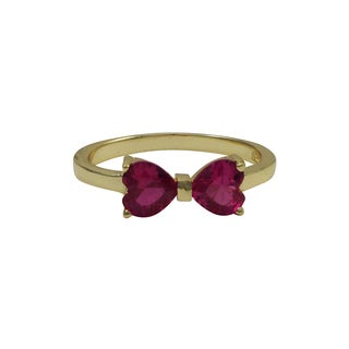 Gold Finish Sterling Silver Fuchsia Cubic Zirconia Heart Bow Children's Ring