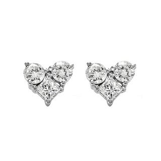14k White Gold 3/8ct TDW Diamond Heart Earrings (H-I, I1-I2)