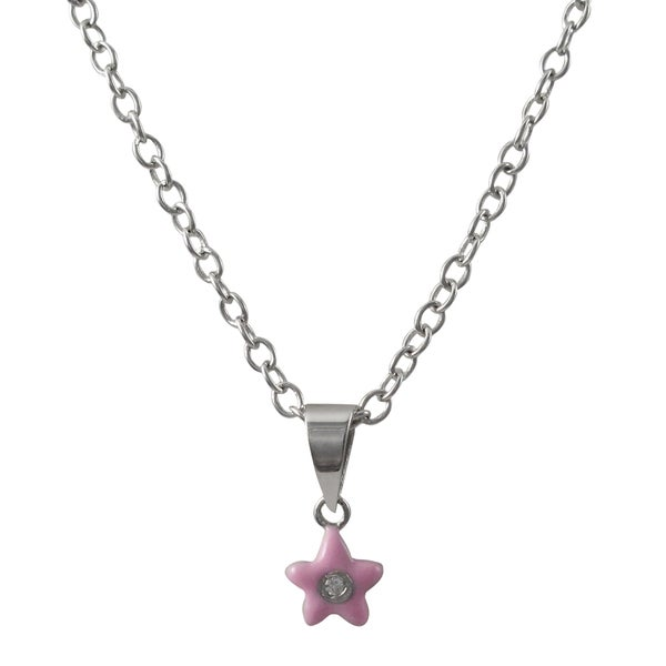 Sterling Silver Pave Cubic Zirconia Enamel Flower Pendant Necklace