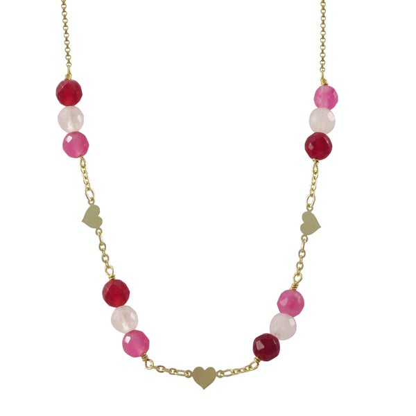 Gold Filled Pink Semi-precious Gemstone Children's Heart Necklace