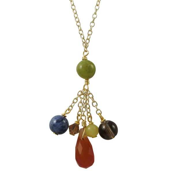 Gold Finish Semi-precious Gemstone and Preciosa Bead Tassel Necklace