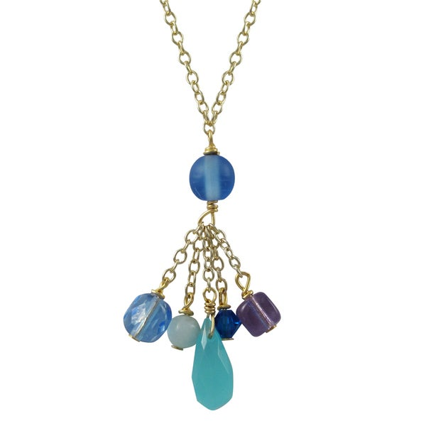 Gold Finish Blue Semi-precious Gemstone and Preciosa Bead Tassel Necklace