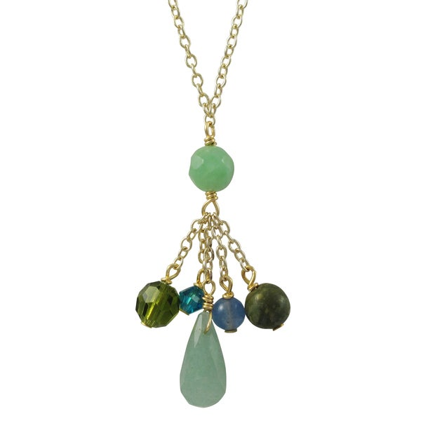 Gold Finish Green Semi-precious Gemstone and Preciosa Bead Tassel Necklace