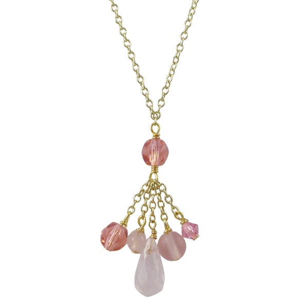 Gold Finish Pink Semi-precious Gemstone and Preciosa Bead Tassel Necklace
