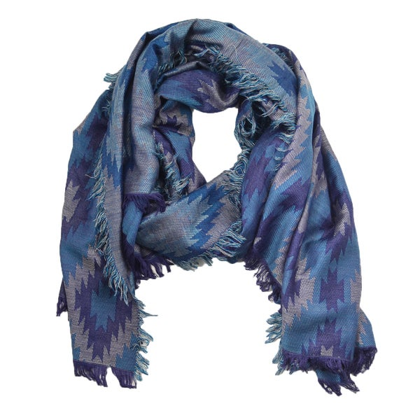 Navy Tribal Long Wrap Pashmina Scarf
