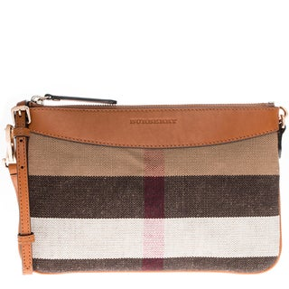 Burberry Small Canvas Check and Leather Clutch Bag