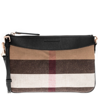 Burberry Black Canvas Check and Leather Clutch Bag