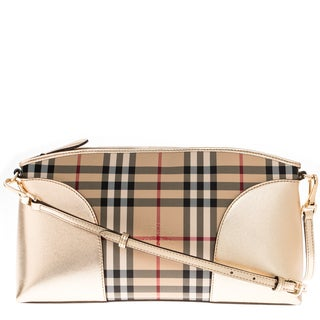 Burberry Gold Horseferry Check and Leather Clutch Bag
