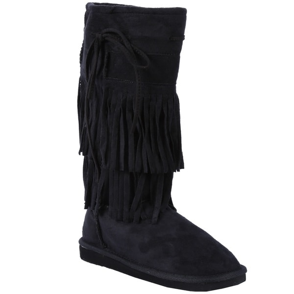 Coshare Women's Aling-82 Faux Suede Fringed Mid Calf Boots