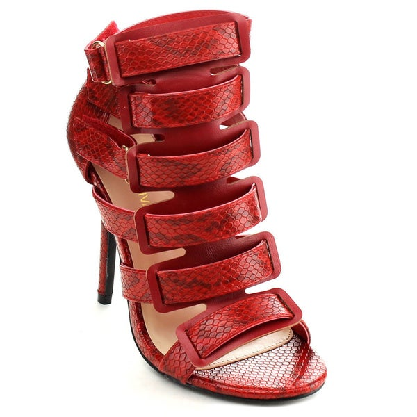 WILD DIVA FRANCES-01 Women's Faux Snake Print Gladiator Heels