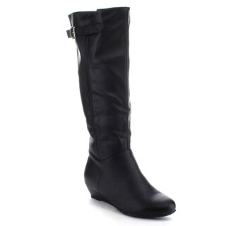 Beston DA63 Women's Wedges Buckle Strap Low Heel Slouchy Knee High Riding Boots