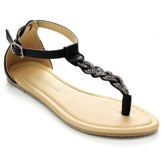 WILD DIVA TANAYA-224 Women's Braided T-Strap Sandals