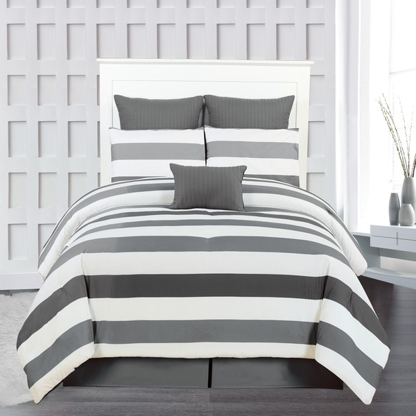Darby Striped Quilted Oversized/ Overfilled 7-piece Comforter Set (As Is Item)