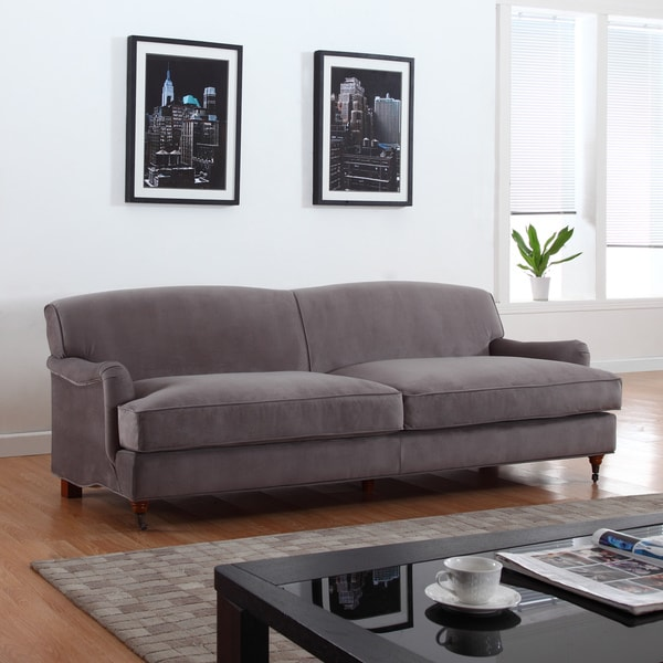 Mid Century Grey Modern Sophisticated Large Soft Brush Microfiber Sofa with Casters