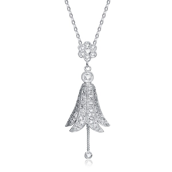Collette Z Sterling Silver Cubic Zirconia Filigree and White Cubic Zirconia Dangling Pendant Necklace