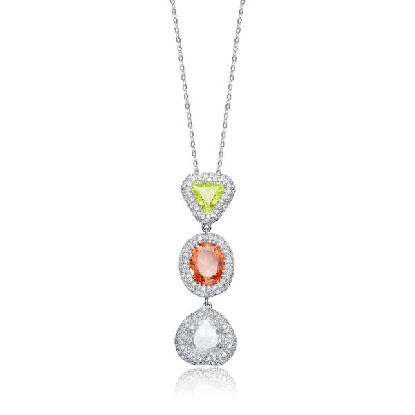 Collette Z Sterling Silver Cubic Zirconia White Yellow and Burnt Amber Cubic Zirconia Dangling Pendant Necklace
