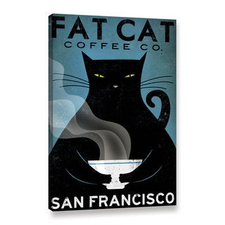 ArtWall Ryan Fowler's Cat Coffee, Gallery Wrapped Canvas
