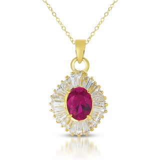 Collette Z Sterling Silver Red Cubic Zirconia and Gold Plating Clear Pendant