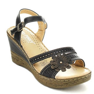 VIA PINKY HILDA-24 Women's Flower Wedge Sandals