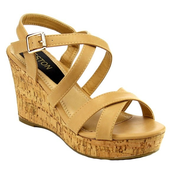 Beston EA47 Women Strappy Criss Cross Slingback Wedge Sandal