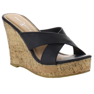 Beston EA50 Women's Criss Cross Wedge Sandals