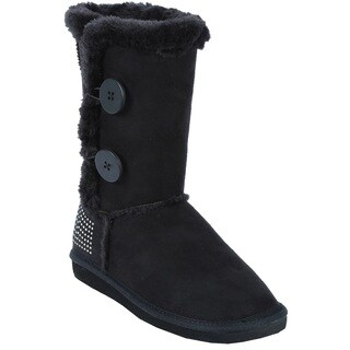 Coshare Women's Aling-43 Suede PU Two Button Mid Calf Boots