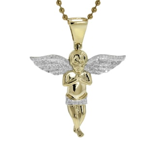 Sterling Silver 1/3ct TDW Diamond Wide Wing Angel Pendant (G-H, I2-I3)