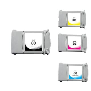 Set Compatible C4871A C4846A C4847A C4848A #80 Ink Cartridge for HP DesignJet 1000 1050 1055 (Pack of 4)