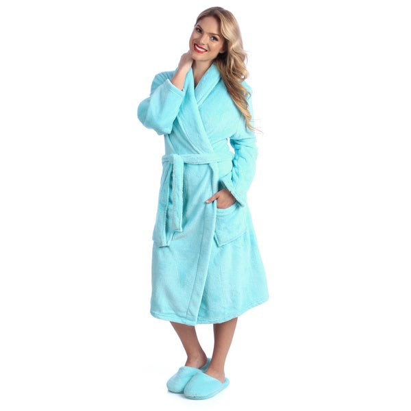Ultrasoft Plush Bath Robe and Slipper Set Medium Size in Blue (As Is Item)