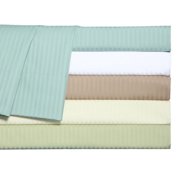 Grand Luxe Main Street Dobby Stripe 310 Thread Count Egyptian Cotton Sateen Deep Pocket King Size Sheet Set in Blue (As Is Item)