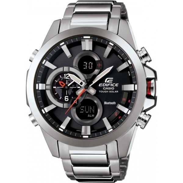 Casio Edifice ECB500D-1A Stainless Steel Smartphone Link Dual World Time Watch